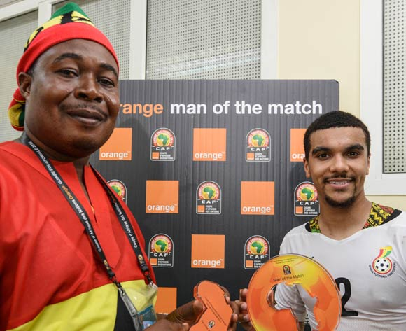 Kwesi Appiah of Ghana is Orange Man of the Match during the 2015 Africa Cup of Nations football match between Ghana and Guinea at the Malabo Stadium in Malabo, Equatorial Guinea on 1 February 2015