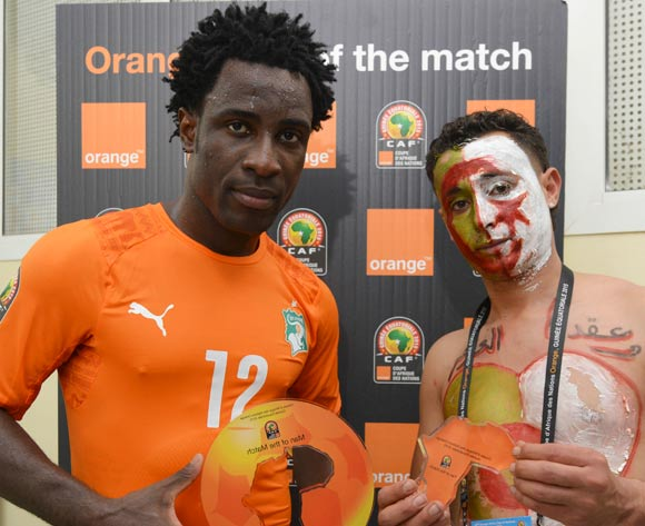 Wilfried Bony of Ivory Coast is Orange Man of the Match during the 2015 Africa Cup of Nations football match between Ivory Coast and Algeria at the Malabo Stadium in Malabo, Equatorial Guinea on 1 February 2015