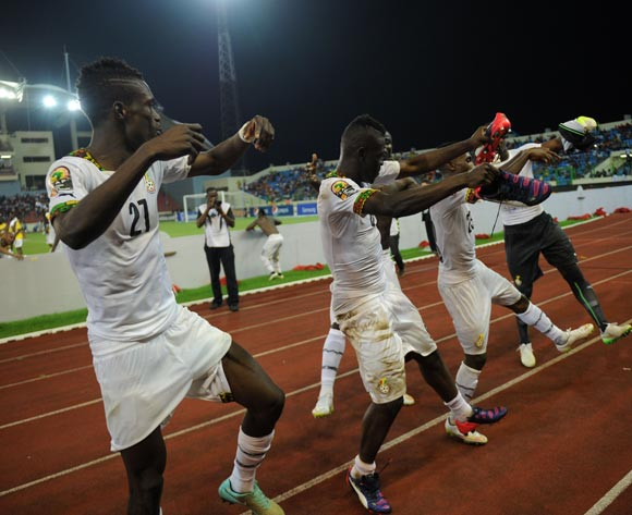 Ghana players celebrate after the match during of the 2015 Africa Cup of Nations Quarter Final match between Ghana and Guinea at Malabo Stadium, Equatorial Guinea on 01 February 2015