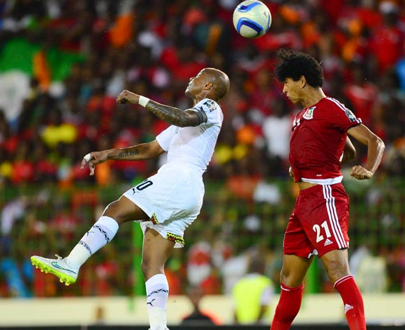 Andre Ayew of Ghana (L) and Ivan Zarandona Esono of Equatorial Guinea (R) during the 2015 Africa Cup of Nations Semifinal football match between Ghana and Equatorial Guinea at the Malabo Stadium in Malabo, Equatorial Guinea on 5 February 2015