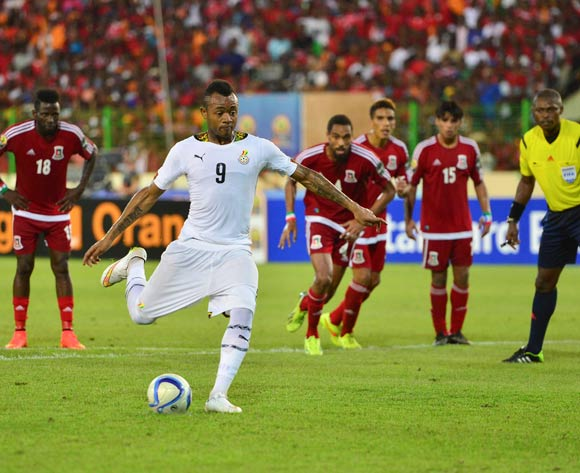 Jordan Ayew of Ghana scores a penalty during the 2015 Africa Cup of Nations Semifinal football match between Ghana and Equatorial Guinea at the Malabo Stadium in Malabo, Equatorial Guinea on 5 February 2015