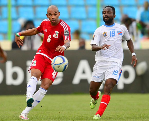 Iban Randy Iyanga of Equatorial Guinea and Cedrick Mabwati of DR Congo during the 2015 Africa Cup of Nations 3rd Place football match between DR Congo and Equatorial Guinea at the Malabo Stadium in Malabo, Equatorial Guinea on 7 February 2015