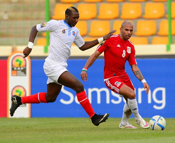 Iban Randy Iyanga of Equatorial Guinea and Yannick Bolasie of DR Congo during the 2015 Africa Cup of Nations 3rd Place football match between DR Congo and Equatorial Guinea at the Malabo Stadium in Malabo, Equatorial Guinea on 7 February 2015