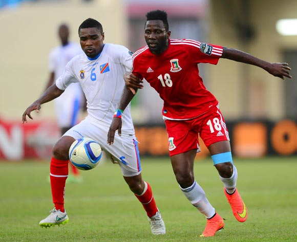 Cedric Makiadi of DR Congo and Viera Ellong Doualla of Equatorial Guinea during the 2015 Africa Cup of Nations 3rd Place football match between DR Congo and Equatorial Guinea at the Malabo Stadium in Malabo, Equatorial Guinea on 7 February 2015