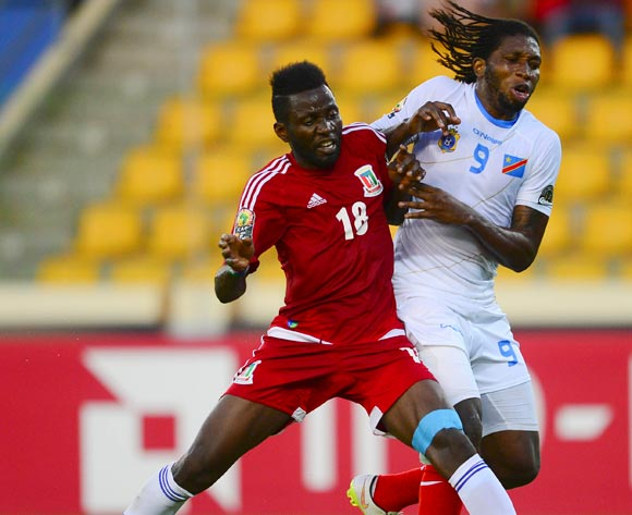 Viera Ellong Doualla of Equatorial Guinea and Diedonnei Mbokani of DR Congo during the 2015 Africa Cup of Nations 3rd Place football match between DR Congo and Equatorial Guinea at the Malabo Stadium in Malabo, Equatorial Guinea on 7 February 2015