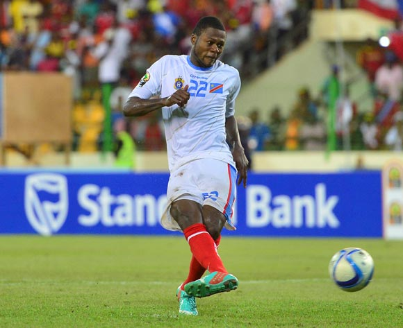 Chancel Mbemba of DR Congo shoots a penalty during the 2015 Africa Cup of Nations 3rd Place football match between DR Congo and Equatorial Guinea at the Malabo Stadium in Malabo, Equatorial Guinea on 7 February 2015
