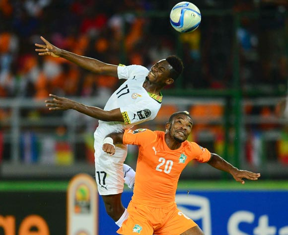 Abdul Baba Rahman of Ghana (L) and Serey Die of Ivory Coast (R) during the 2015 Africa Cup of Nations final football match between Ivory Coast and Ghana at the Bata Stadium in Bata, Equatorial Guinea on 8 February 2015