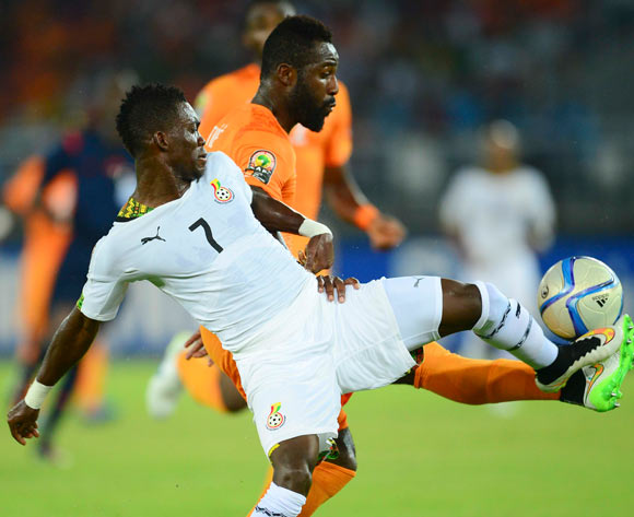 Christian Atsu of Ghana (L) and Siaka Tiene of Ivory Coast (R) during the 2015 Africa Cup of Nations final football match between Ivory Coast and Ghana at the Bata Stadium in Bata, Equatorial Guinea on 8 February 2015