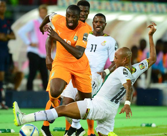 Yaya Toure of Ivory Coast (L) and Andre Ayew of Ghana (R) during the 2015 Africa Cup of Nations final football match between Ivory Coast and Ghana at the Bata Stadium in Bata, Equatorial Guinea on 8 February 2015