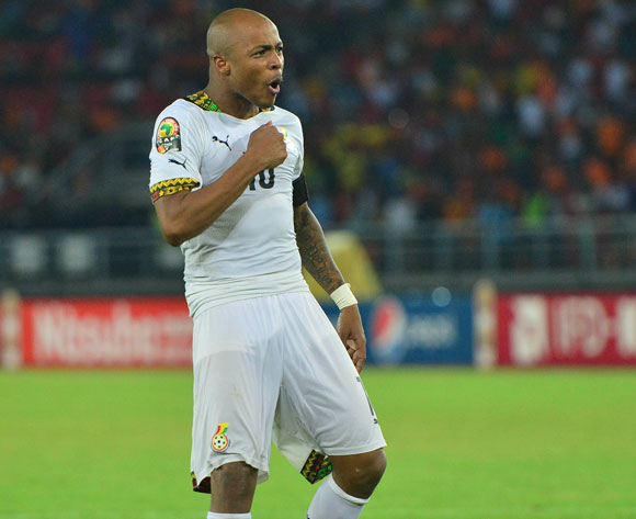 Andre Ayew of Ghana reacts after scoring a penalty during the 2015 Africa Cup of Nations final football match between Ivory Coast and Ghana at the Bata Stadium in Bata, Equatorial Guinea on 8 February 2015