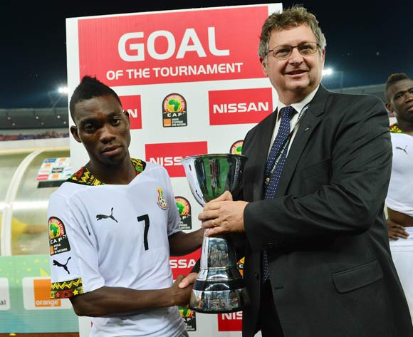 Christian Atsu of Ghana wins  Nissan Goal of the Tournament during  the 2015 Africa Cup of Nations football Final match between Ivory Coast and Ghana at the Bata Stadium, Bata, Equatorial Guinea on 8 February  2015