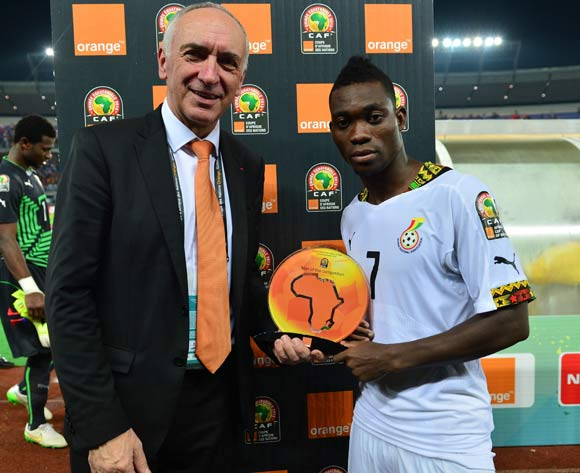 Christian Atsu of Ghana receives Orange Man of the Competition award during  the 2015 Africa Cup of Nations football Final match between Ivory Coast and Ghana at the Bata Stadium, Bata, Equatorial Guinea on 8 February  2015