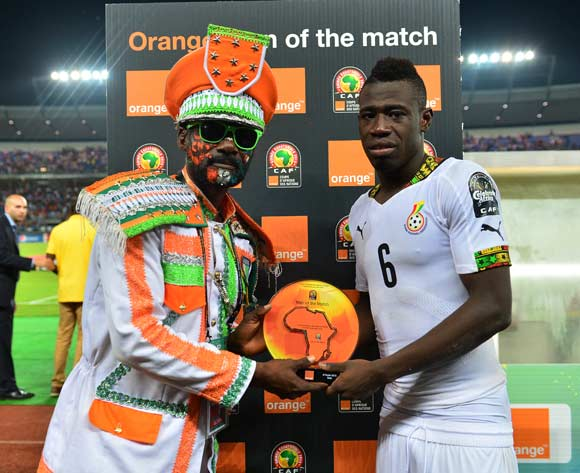 Afriyie Acquah of Ghana receives Orange Man of the Match award from the Orange Fan of the Match  during  the 2015 Africa Cup of Nations football Final match between Ivory Coast and Ghana at the Bata Stadium, Bata, Equatorial Guinea on 8 February  2015