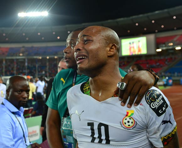 Andre Ayew of Ghana reacts in tears after losing during  the 2015 Africa Cup of Nations football Final match between Ivory Coast and Ghana at the Bata Stadium, Bata, Equatorial Guinea on 8 February  2015