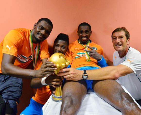 (l-r) Sylvain Gbohouo, Sayouba Mande, Boubacar Barry of Ivory Coast and goalkeeper coach with trophy change room during  the 2015 Africa Cup of Nations football Final match between Ivory Coast and Ghana at the Bata Stadium, Bata, Equatorial Guinea on 8 February  2015
