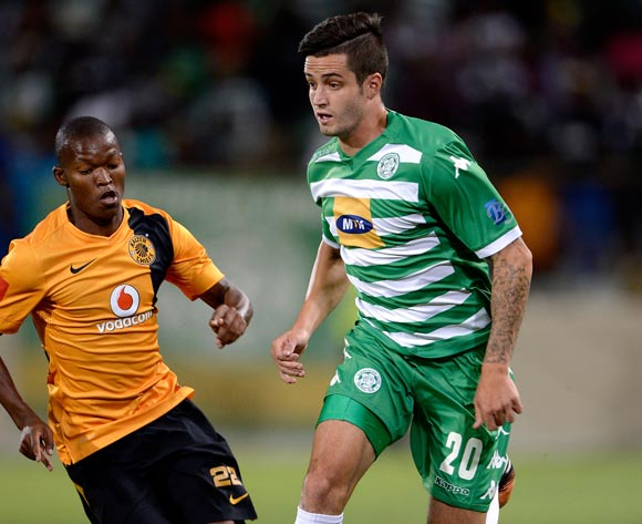 Keegan Ritchie of Bloemfontein Celtic and Mandla Masango of Kaizer Chiefs during the Absa Premiership match between Bloemfontein Celtic FC and Kaizer Chiefs FC. at the Free State Stadium  on 11 February 2015.