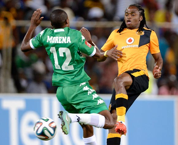 Siphiwe Tshabalala of Kaizer Chiefs and Thapelo Morena of Bloemfontein Celtic during the Absa Premiership match between Bloemfontein Celtic FC and Kaizer Chiefs FC. at the Free State Stadium  on 11 February 2015.