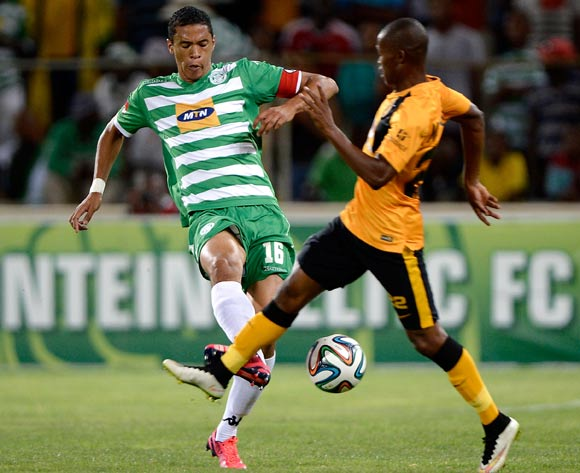 Bevan Fransman of Bloemfontein Celtic and Mandla Masango of Kaizer Chiefs during the Absa Premiership match between Bloemfontein Celtic FC and Kaizer Chiefs FC. at the Free State Stadium  on 11 February 2015.