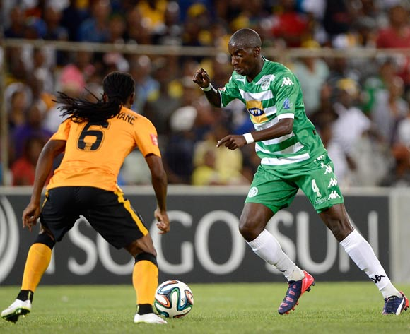 Reneilwe Letsholonyane of Kaizer Chiefs and Musa Nyatama of Bloemfontein Celtic during the Absa Premiership match between Bloemfontein Celtic FC and Kaizer Chiefs FC. at the Free State Stadium  on 11 February 2015.
