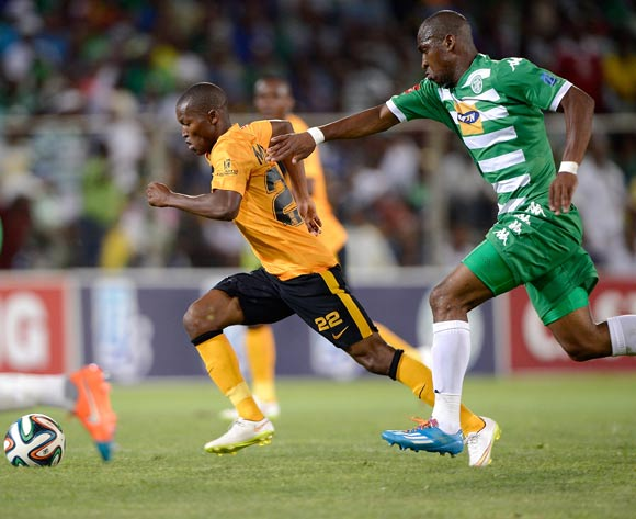 Mandla Masango of Kaizer Chiefs and Alfred Ndengane of Bloemfontein Celtic during the Absa Premiership match between Bloemfontein Celtic FC and Kaizer Chiefs FC. at the Free State Stadium  on 11 February 2015.