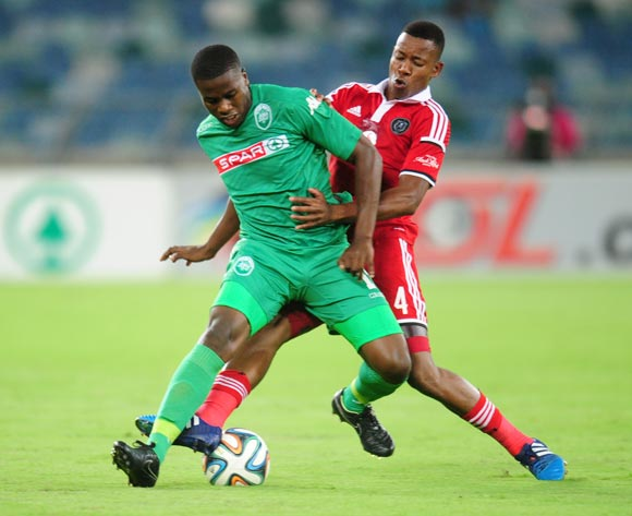 Bonginkosi Ntuli of AmaZulu battling Happy Jele of Orlando Pirates during the Absa Premiership 2014/15 football match between AmaZulu and Orlando Pirates at the Moses Mabhida Stadium in Durban Kwa-Zulu Natal on the 11th of February 2015