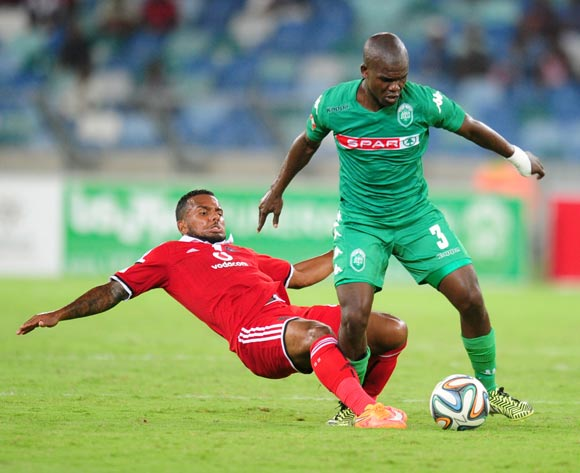 Goodman Dlamini of AmaZulu battling Kermit Erasmus of Orlando Pirates during the Absa Premiership 2014/15 football match between AmaZulu and Orlando Pirates at the Moses Mabhida Stadium in Durban Kwa-Zulu Natal on the 11th of February 2015