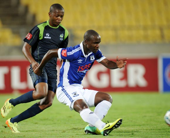 S'bosino Gumede  of Black Aces challenged by Ndumiso Mabena of Platinum Stars during the Absa Premiership 2014/15 match between Platinum Stars and Black Aces at the Royal Bafokeng Stadium, Rustenburg on the 11 February 2015