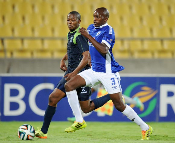 Lehlohonolo Nonyane of Black Aces challenged by Ndumiso Mabena of Platinum Stars during the Absa Premiership 2014/15 match between Platinum Stars and Black Aces at the Royal Bafokeng Stadium, Rustenburg on the 11 February 2015