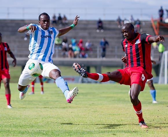 Kwanda Mngonyama of Maritzburg United and George Akpabio of Chippa United fight for possesion during the Absa Premiership football Match between Chippa United and Maritzburg United at the Issac Wolfson Stadium Port Elizabeth on 13 February 2015 © Michael Sheehan/BackpagePix