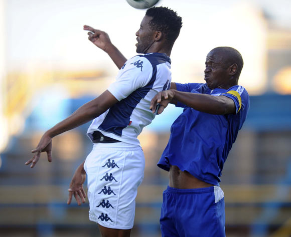 Sthembiso Ngcobo of Bidvest Wits battles with Siboniso Malambe of Royal Leopards during the CAF Confederation Cup match between Bidets Wits and Royal Leopards at Bidvest Stadium, Johannesburg on 14 February 2015
