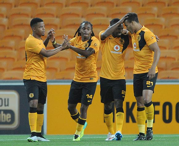 Matthew Rusike of Kaizer Chiefs celebrates a goal with teammates  during the CAF Champions League match between Kaizer Chiefs and Township Rollers at FNB Stadium, Johannesburg on 14 February 2015