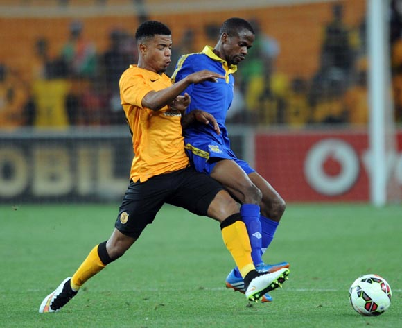 Sikele Motsholetshi of Township Rollers is closed down by George Lebese of Kaizer Chiefs  during the CAF Champions League match between Kaizer Chiefs and Township Rollers at FNB Stadium, Johannesburg on 14 February 2015