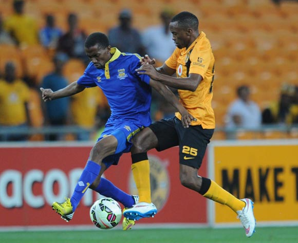 Koko Sekhana of Township Rollers is challenged by Bernard Parker of Kaizer Chiefs  during the CAF Champions League match between Kaizer Chiefs and Township Rollers at FNB Stadium, Johannesburg on 14 February 2015