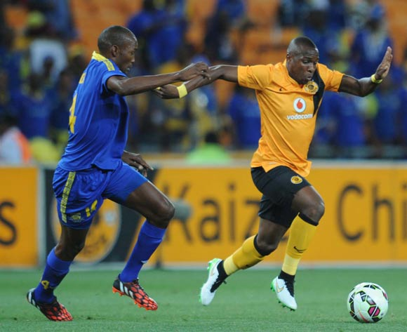 Majawa Lawrence of Township Rollers Cleses down George Maluleka of Kaizer Chiefs  during the CAF Champions League match between Kaizer Chiefs and Township Rollers at FNB Stadium, Johannesburg on 14 February 2015