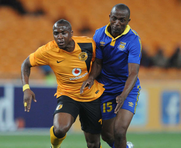 Majawa Lawrence of Township Rollers Closes down George Maluleka of Kaizer Chiefs  during the CAF Champions League match between Kaizer Chiefs and Township Rollers at FNB Stadium, Johannesburg on 14 February 2015