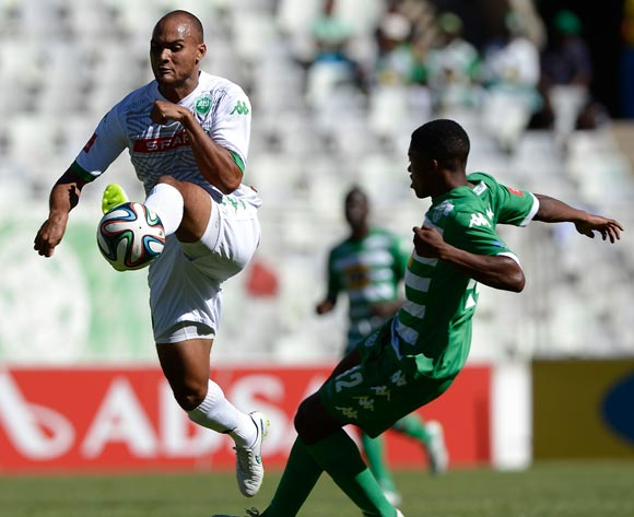 Robyn Johannes of Amazulu and Thapelo Morena of Bloemfontein Celtic during the Absa Premiership match between Bloemfontein Celtic FC and Amazulu FC. at the Free State Stadium  on 15 February 2015.
