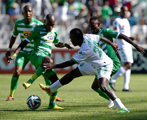 Lerato Lamola of Bloemfontein Celtic and John Arwuah of Amazulu during the Absa Premiership match between Bloemfontein Celtic FC and Amazulu FC. at the Free State Stadium  on 15 February 2015.