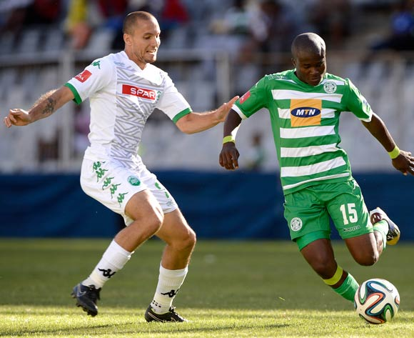Vuyani Ntanga of Bloemfontein Celtic and Roscoe Pietersen of Amazulu during the Absa Premiership match between Bloemfontein Celtic FC and Amazulu FC. at the Free State Stadium  on 15 February 2015.