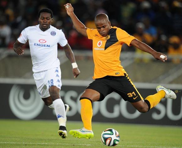 Willard Katsande of Kaizer Chiefs challenged by Kingston Nkhatha of Supersport United during the Absa Premiership 2014/15 match between Supersport United and Kaizer Chiefs at the Peter Mokaba Stadium, Polokwane on the 17 February 2015