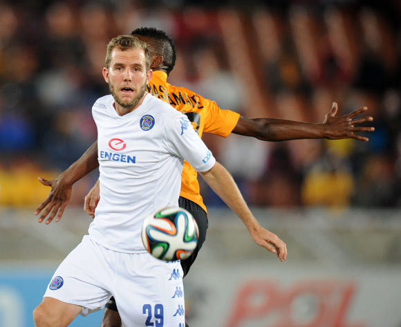 Jeremy Broke of Supersport United battles with Tefu Mashamaite of Kaizer Chiefs  during the Absa Premiership 2014/15 match between Supersport United and Kaizer Chiefs at the Peter Mokaba Stadium, Polokwane on the 17 February 2015