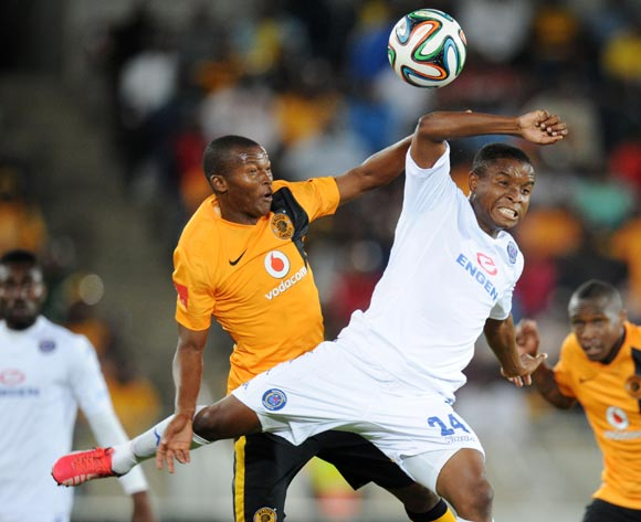 Mandla Masango of Kaizer Chiefs battles with David Mathebula of Supersport United during the Absa Premiership 2014/15 match between Supersport United and Kaizer Chiefs at the Peter Mokaba Stadium, Polokwane on the 17 February 2015