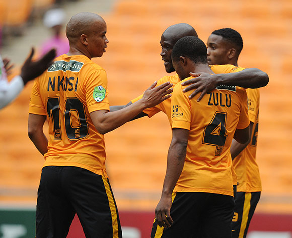 Siphelele Mthembu of Kaizer Chiefs celebrates his goal with teammates during the 2015 Nedbank Cup match between Kaizer Chiefs and Edu Sport FC at the FNB Stadium, Johannesburg on the 21 February 2015  ©Muzi Ntombela/BackpagePix