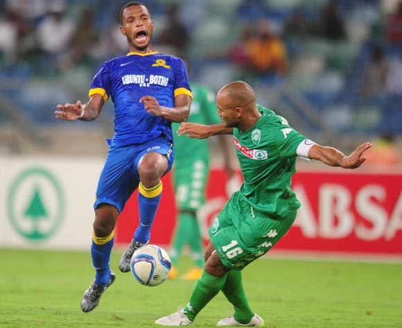 Robyn Johannes of AmaZulu battles Mzikayise Mashaba of Mamelodi Sundowns during the Absa Premiership 2014/15 football match between AmaZulu and Mamelodi Sundowns at the Moses Mabhida Stadium in Durban Kwa-Zulu Natal on the 24th of February 2015