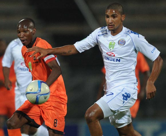 Morne Nel of Supersport United battles  with Jabulani Maluleke of Polokwane City during the Nedbank Cup match between Supersport United and Polokwane City on 25 February 2015 at Lucas Moripe Stadium