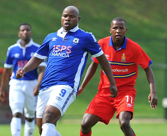 Collins Mbesuma of Black Aces challenged by Thabo Mosadi of University Pretoria during the Absa Premiership 2014/15 football match between University of Pretoria and Black Aces at Tuks Stadium in Pretoria, South Africa on February 28, 2015 ©Samuel Shivambu/BackpagePix