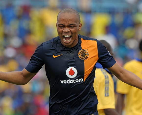 Siyabonga Nkosi of Kaizer Chiefs  celebrates his goal during the 2015 CAF Champions League match between Township Rollers and Kaizer Chiefs at the National Stadium, Lobatse on the 28 February 2015  ©Muzi Ntombela/BackpagePix