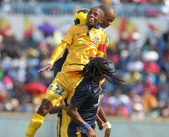 Ditshpo Maano of Township Rollers battles with Siyabonga Nkosi of Kaizer Chiefs  during the 2015 CAF Champions League match between Township Rollers and Kaizer Chiefs at the National Stadium, Lobatse on the 28 February 2015  ©Muzi Ntombela/BackpagePix