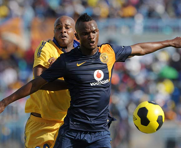Siboniso Gaxa of Kaizer Chiefs challenged by Manqoba Ngwenya of Township Rollers during the 2015 CAF Champions League match between Township Rollers and Kaizer Chiefs at the National Stadium, Lobatse on the 28 February 2015  ©Muzi Ntombela/BackpagePix