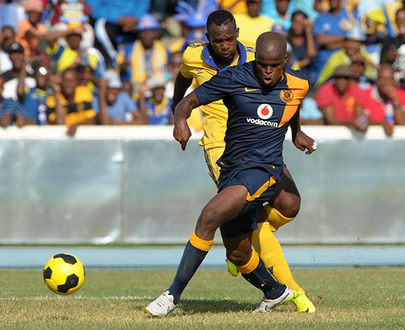 Louis Jerome of Township Rollers challenged by Willard Katsande of Kaizer Chiefs during the 2015 CAF Champions League match between Township Rollers and Kaizer Chiefs at the National Stadium, Lobatse on the 28 February 2015  ©Muzi Ntombela/BackpagePix