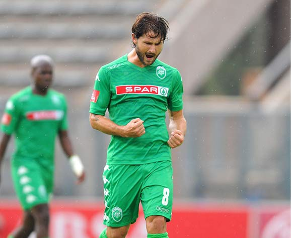 Marc Van heerden of Amazulu celebrates his goal during the Absa Premiership 2014/15 football match between Supersport United and Amazulu at Lucas Moripe Stadium in Pretoria, South Africa on March 01, 2015 ©Samuel Shivambu/BackpagePix